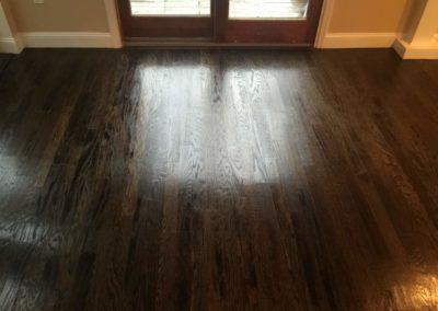 dark wood floor installation